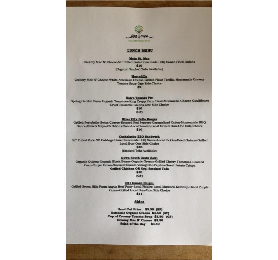 Come check out our new menu for lunch 11am-2pm at