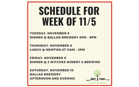 We're not out today but for your planning, here's our schedule for this week