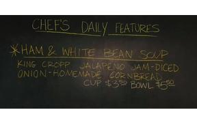 What's a better special for lunch than a cup or bowl of Ham & White Bean Soup?